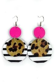 Savvy Bling Neon Pink, Leopard Stripe Leather Earrings - Product Mini Image