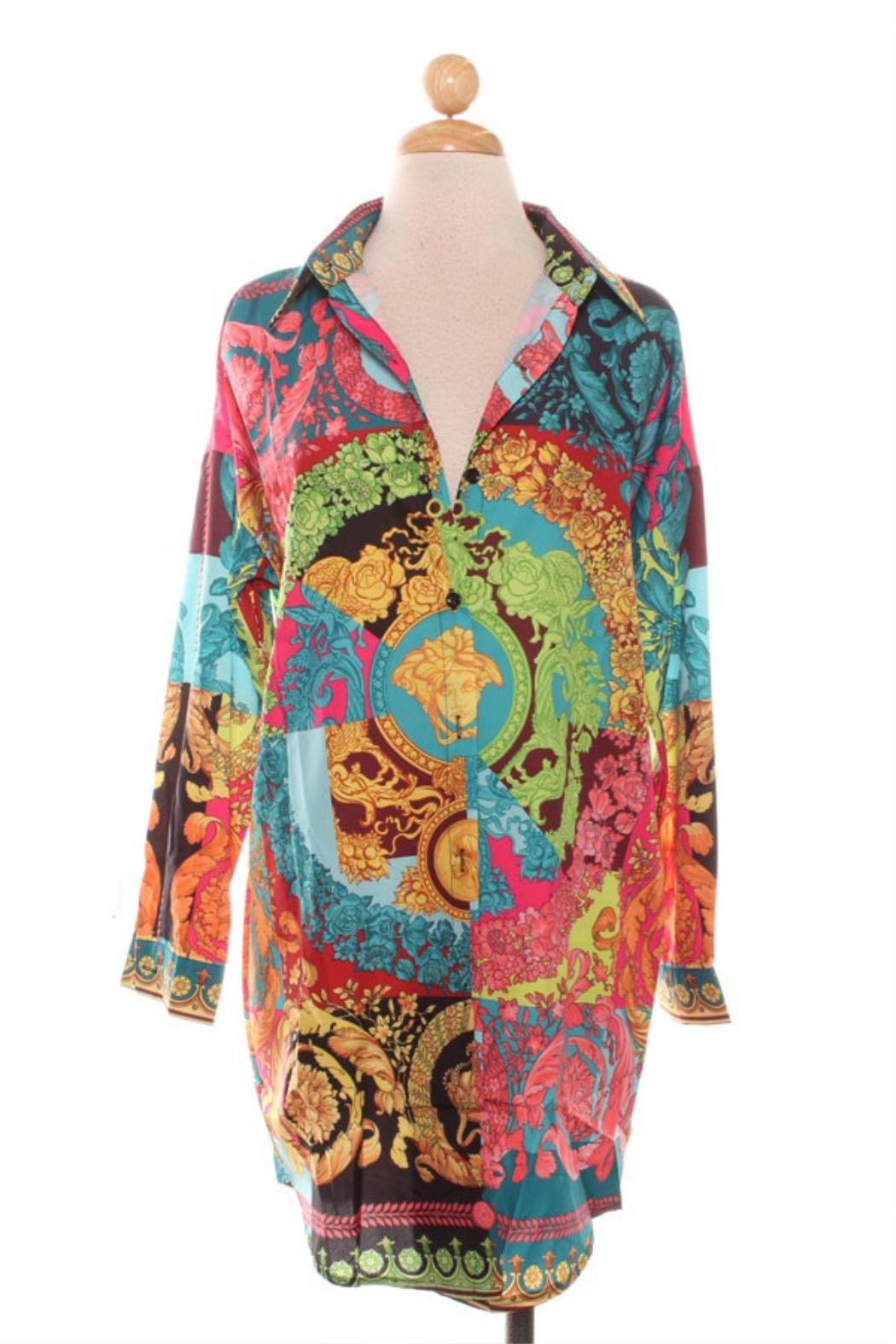 R+D emporium  Neon Printed Shirt Dress - Front Cropped Image