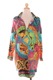 R+D emporium  Neon Printed Shirt Dress - Front cropped