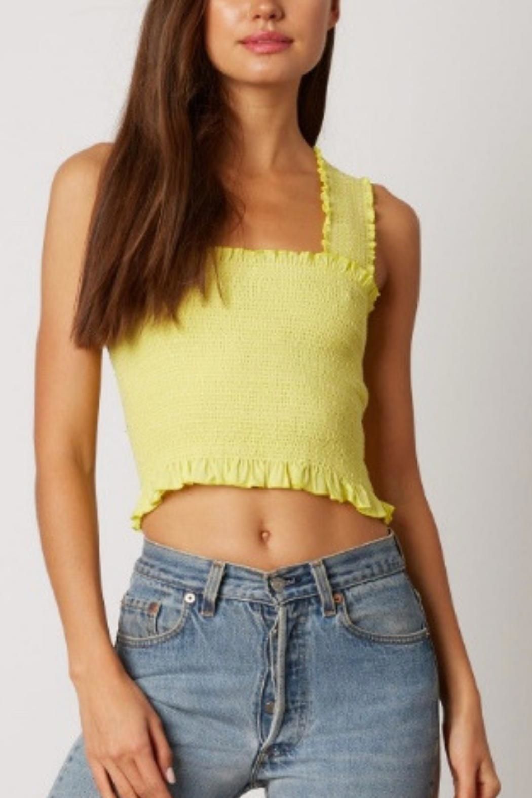 Cotton Candy LA Neon Smocked Top - Front Cropped Image