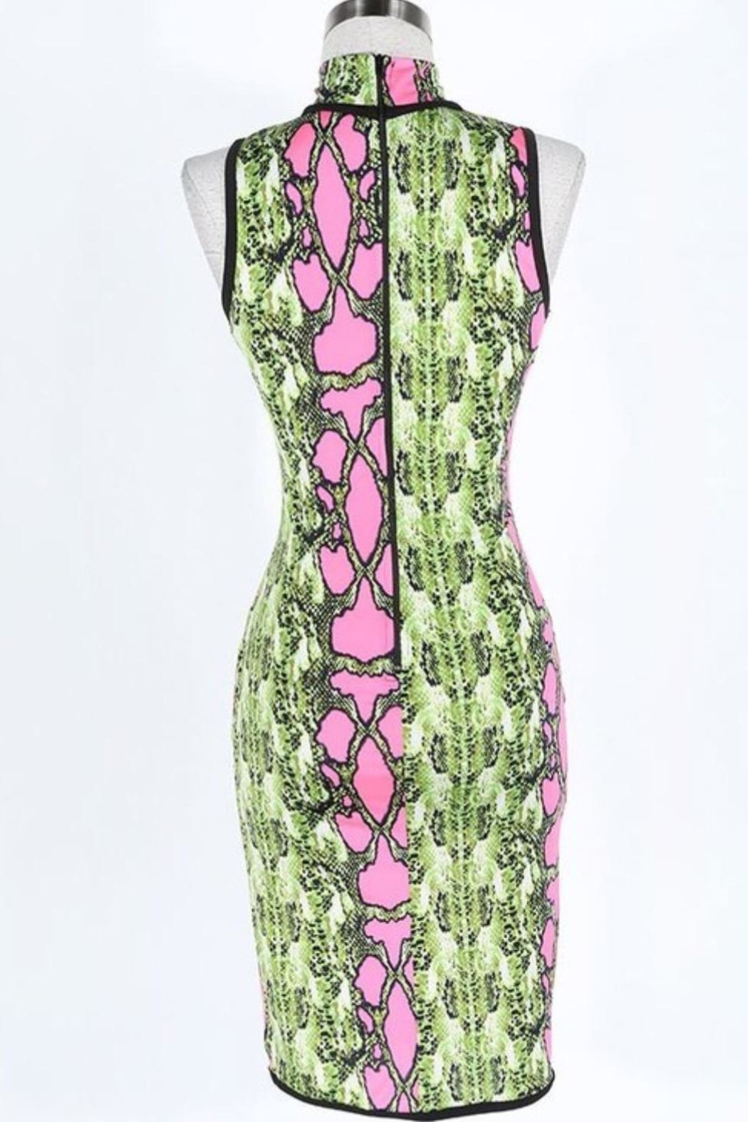 Fashion Queen  Neon Snakeskin Dress - Side Cropped Image