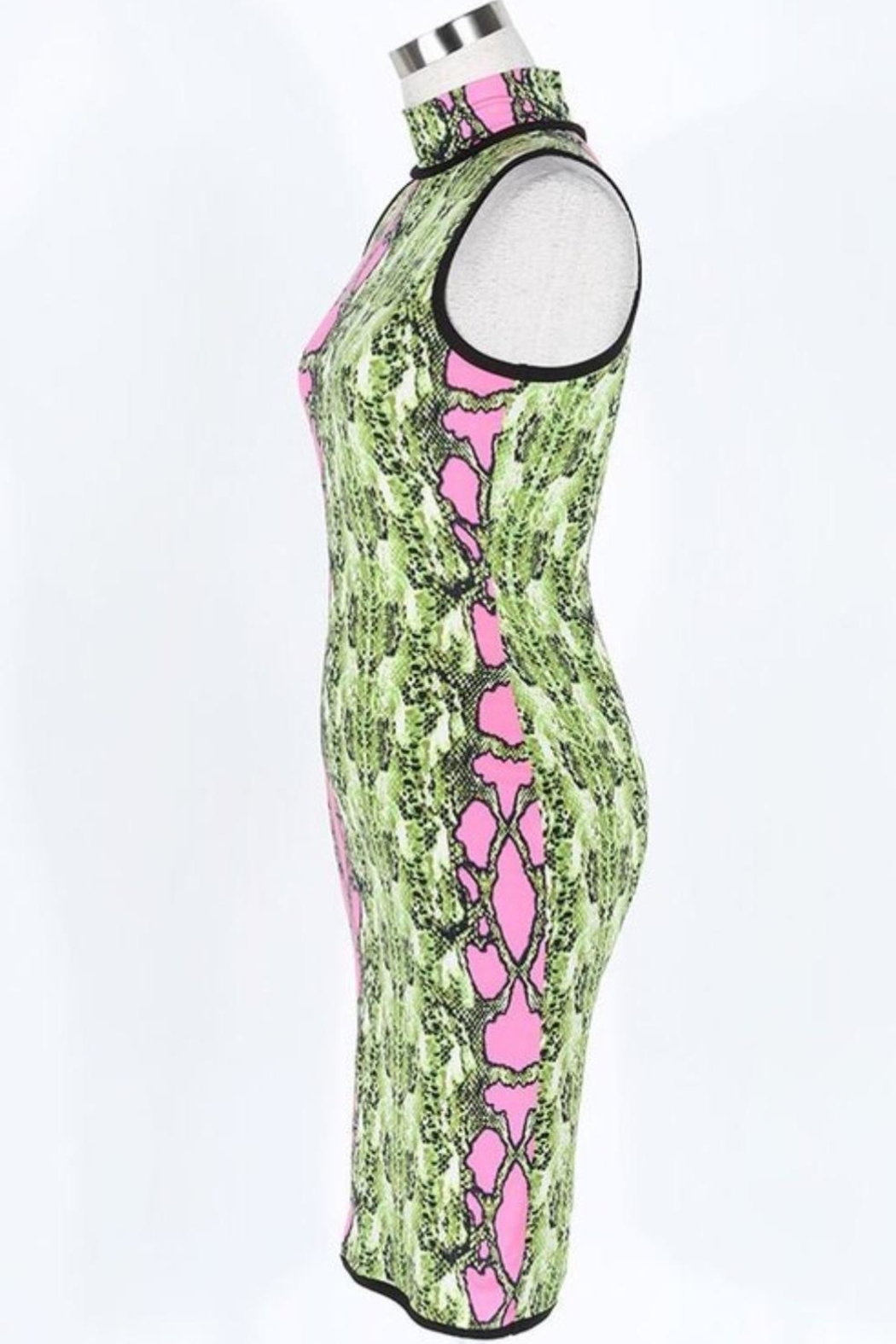 Fashion Queen  Neon Snakeskin Dress - Front Full Image