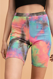 Vintage High Waisted Shorts, Sailor Shorts, Retro Shorts Neon Tie Dye Bike Shorts $24.00 AT vintagedancer.com