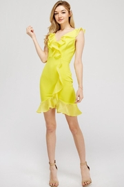 A Peach Neon-Yellow Ruffle Dress - Product Mini Image