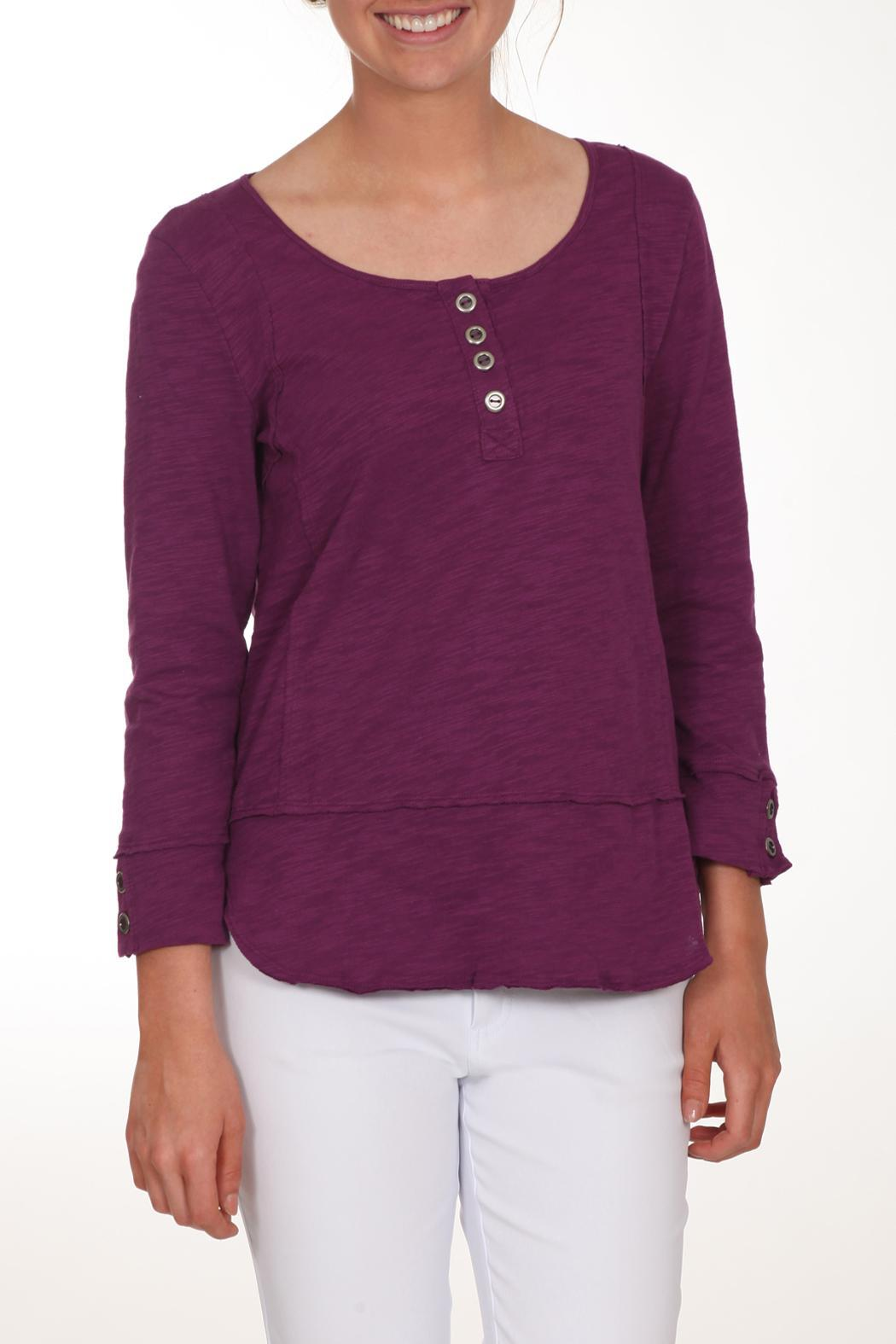 Neon Buddha Purple Button Top - Front Cropped Image