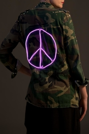 Neon Pink Crochet Neon Peace-Sign Jacket - Front cropped