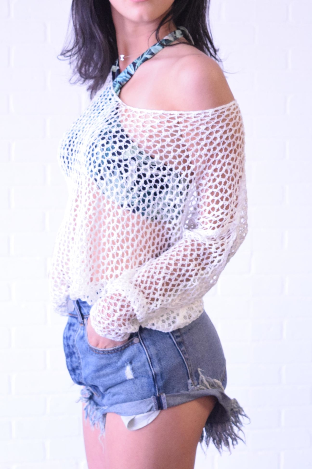 debut Netted Crochet Top - Side Cropped Image