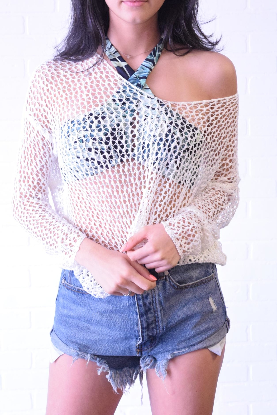 debut Netted Crochet Top - Front Full Image