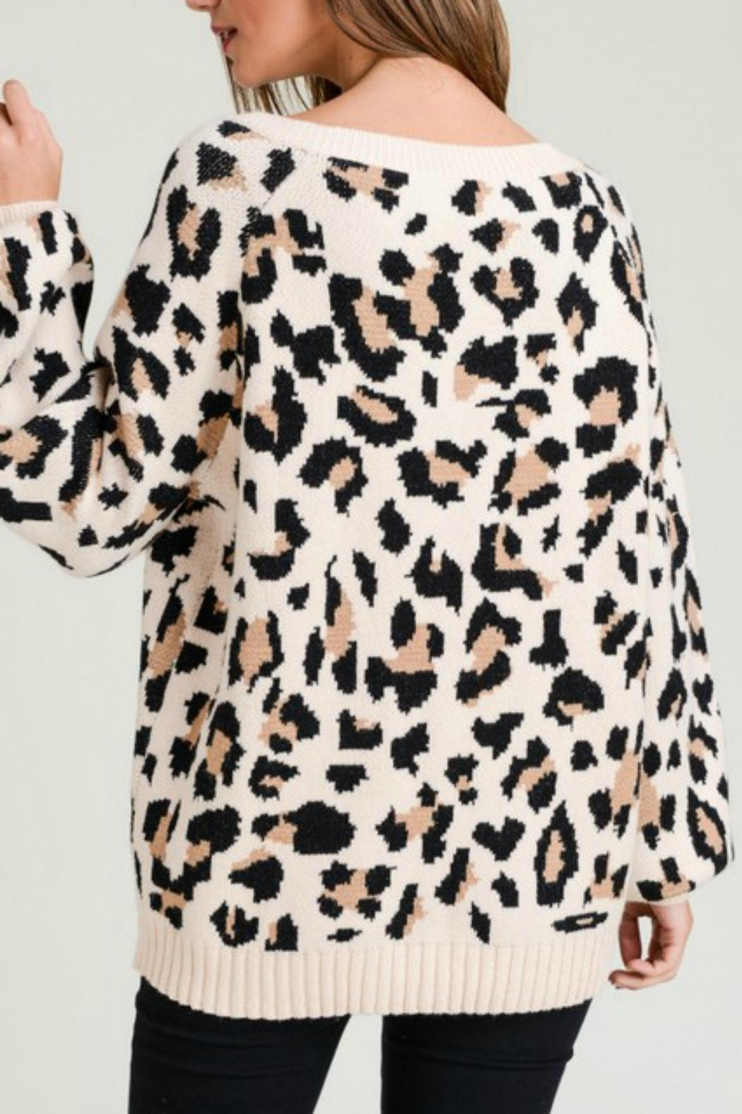 Pretty Little Things Neutral Leopard Sweater - Front Full Image