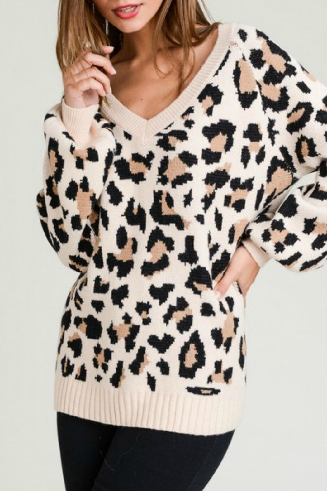 Pretty Little Things Neutral Leopard Sweater - Main Image