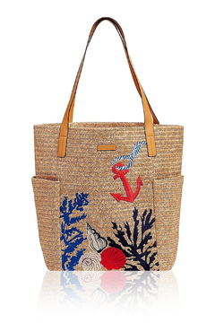 Vera Bradley Neutral North South Straw Beach Tote - Product List Image