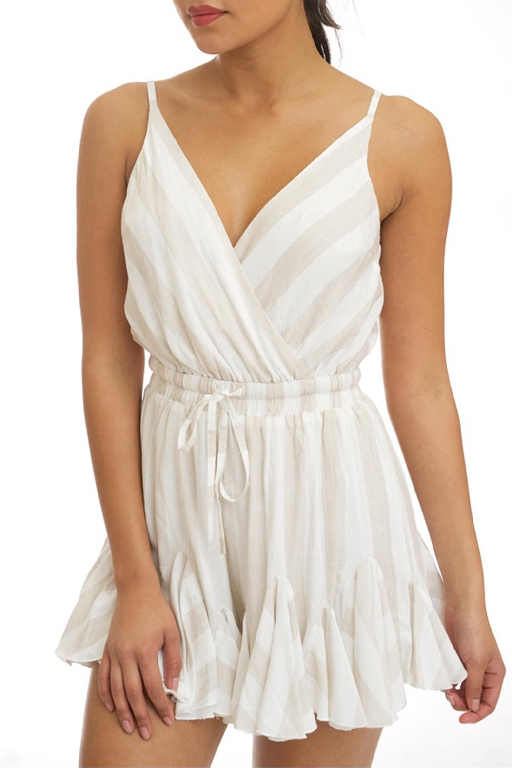 luxxel Neutral Stripe Romper - Front Cropped Image