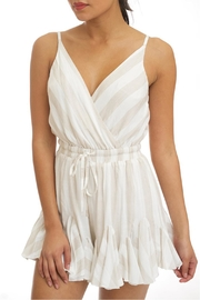 luxxel Neutral Stripe Romper - Front cropped