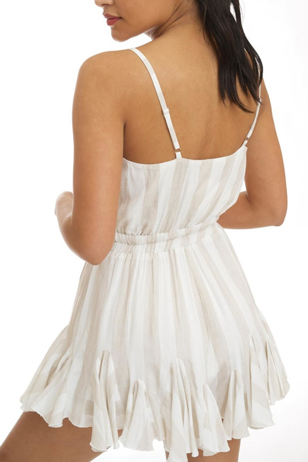 luxxel Neutral Stripe Romper - Front Full Image