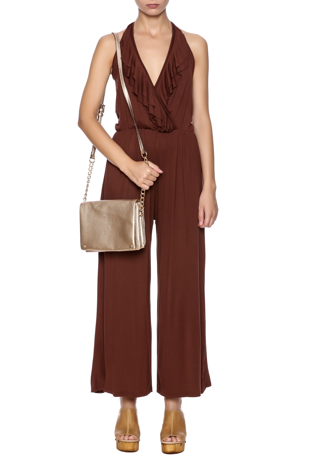 New York Collection Classic Ruffle Jumpsuit - Front Cropped Image