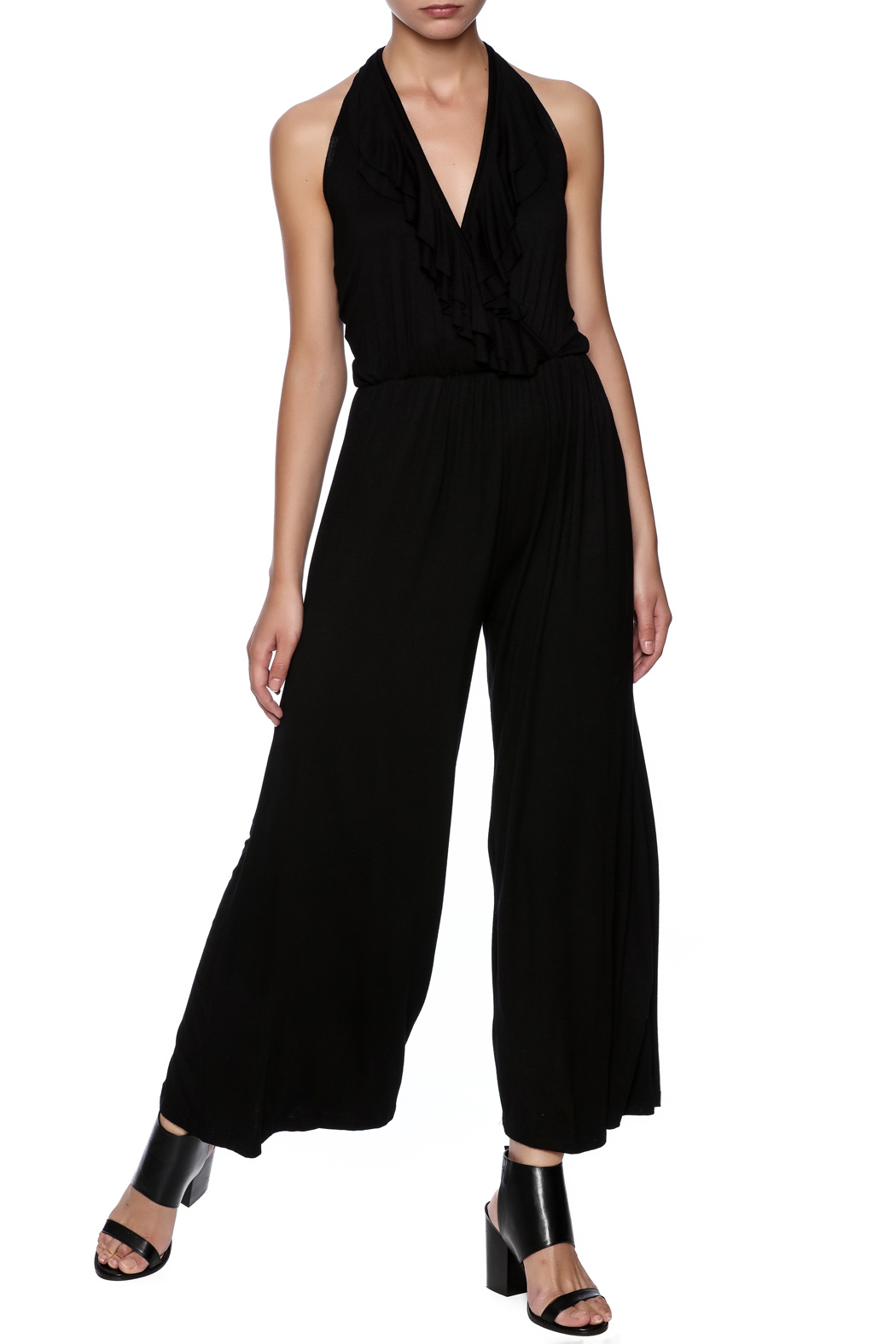 New York Collection Classic Ruffle Jumpsuit - Front Full Image