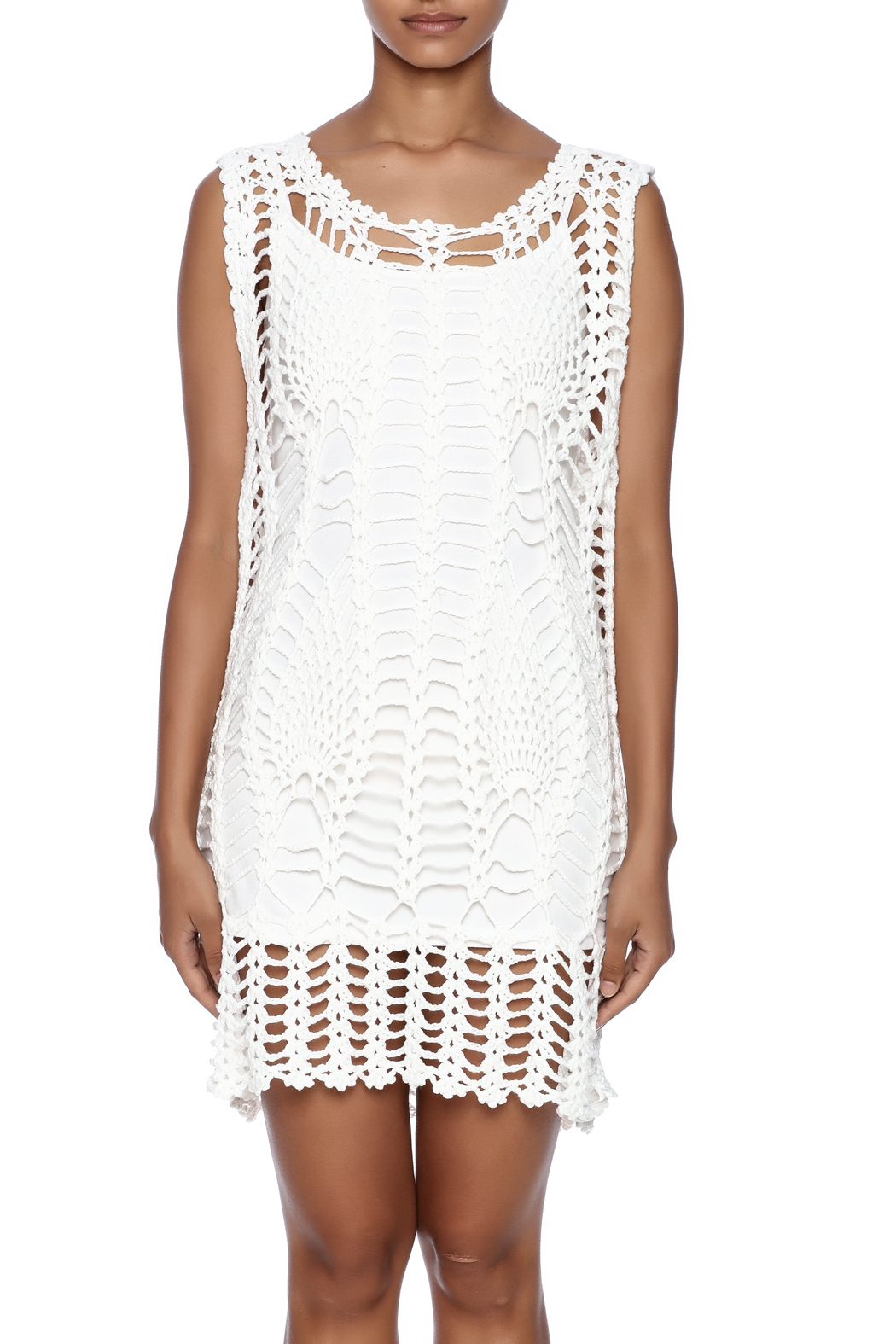 New York Collection Feather Crochet Cover Up - Side Cropped Image