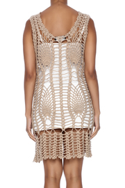 New York Collection Feather Crochet Cover Up - Back cropped