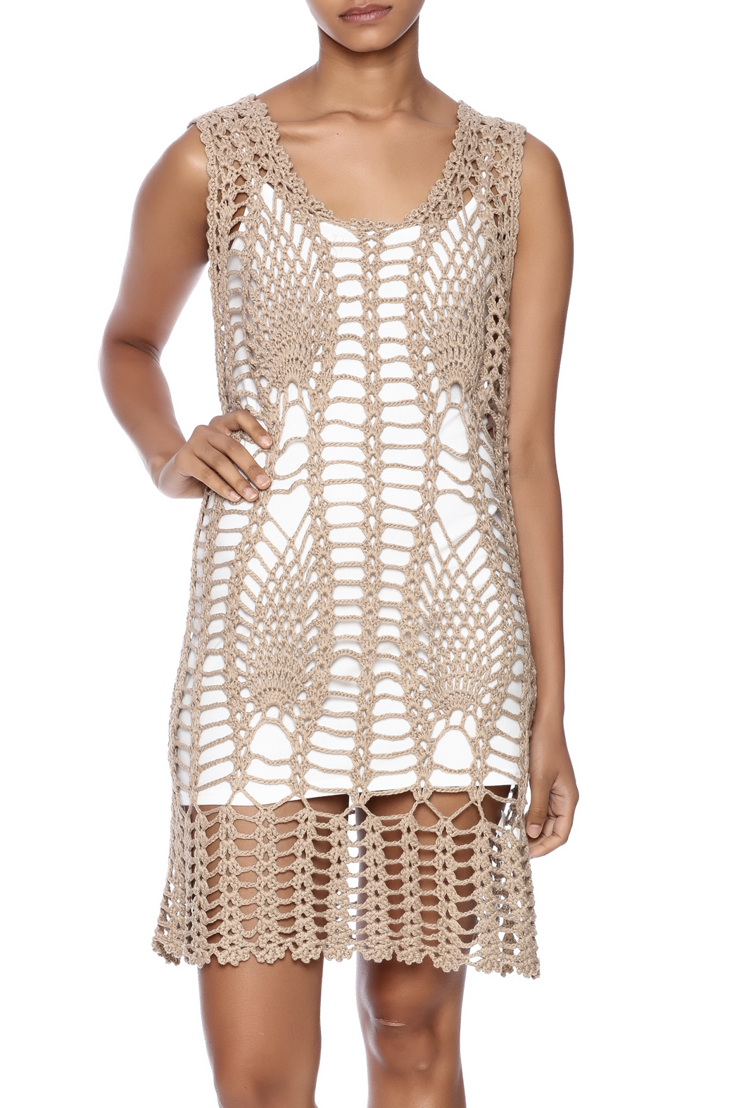 New York Collection Feather Crochet Cover Up - Main Image