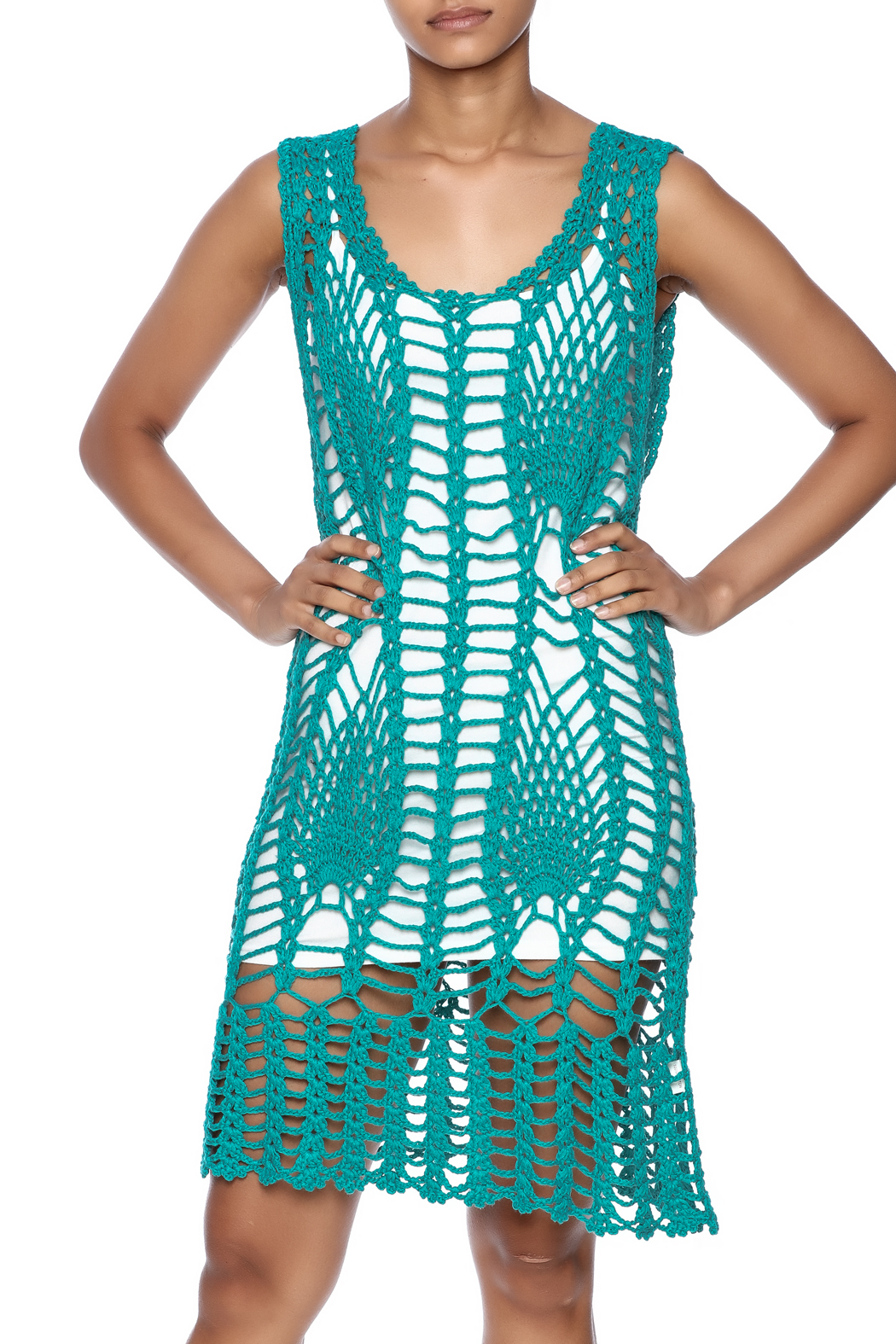 New York Collection Feather Crochet Cover Up - Front Cropped Image