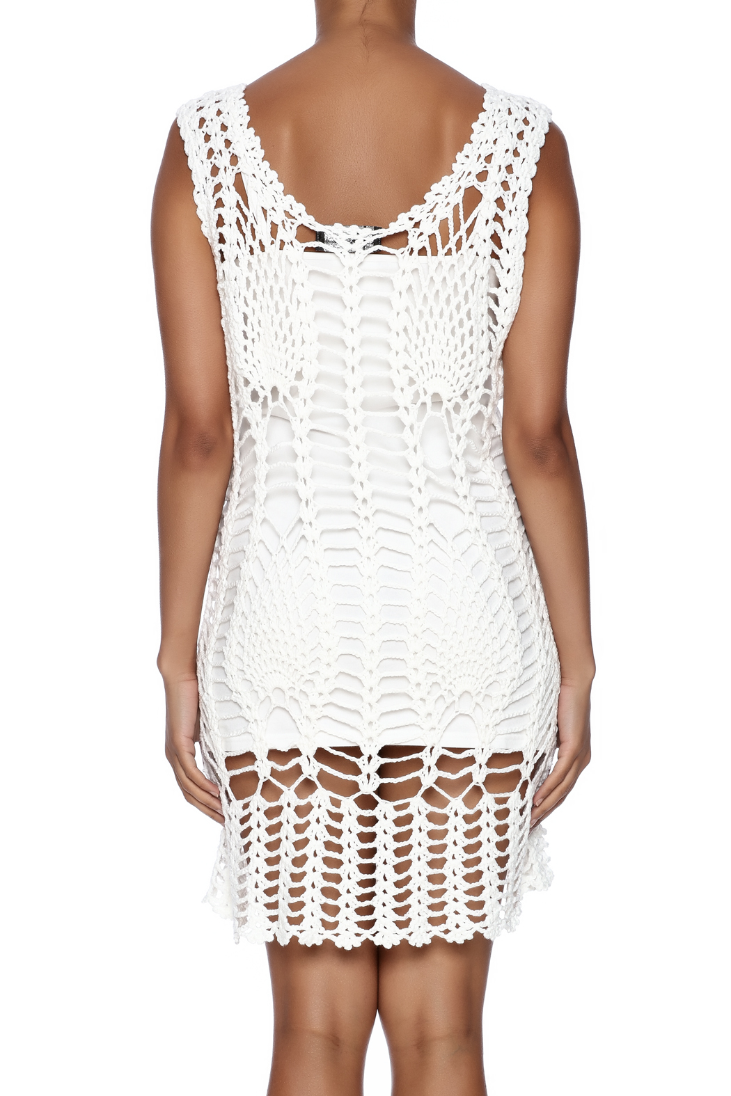 New York Collection Feather Crochet Cover Up - Back Cropped Image