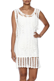 New York Collection Feather Crochet Cover Up - Front cropped