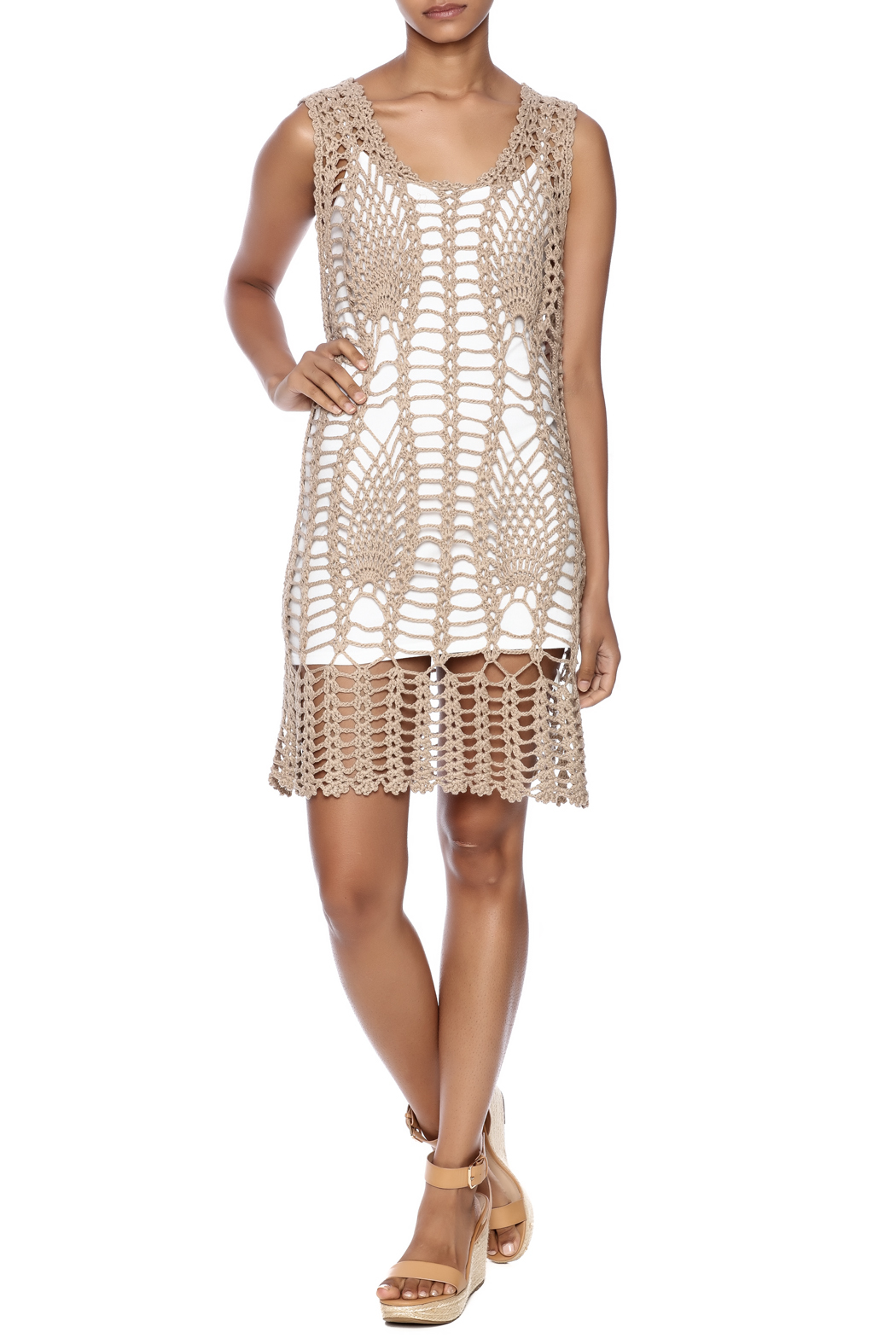 New York Collection Feather Crochet Cover Up - Front Full Image