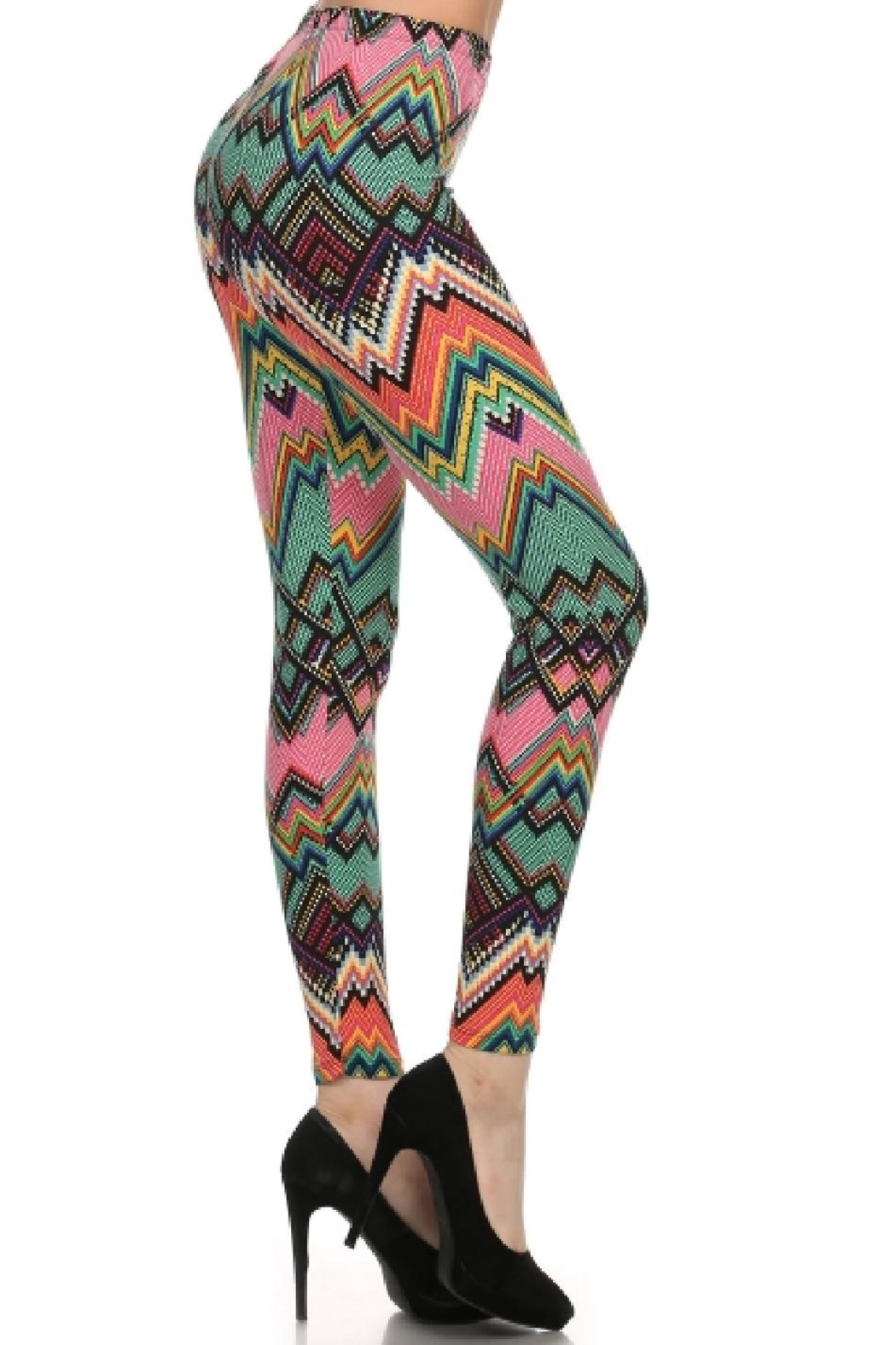 New Fashion Colorful Chevron Leggings - Front Cropped Image