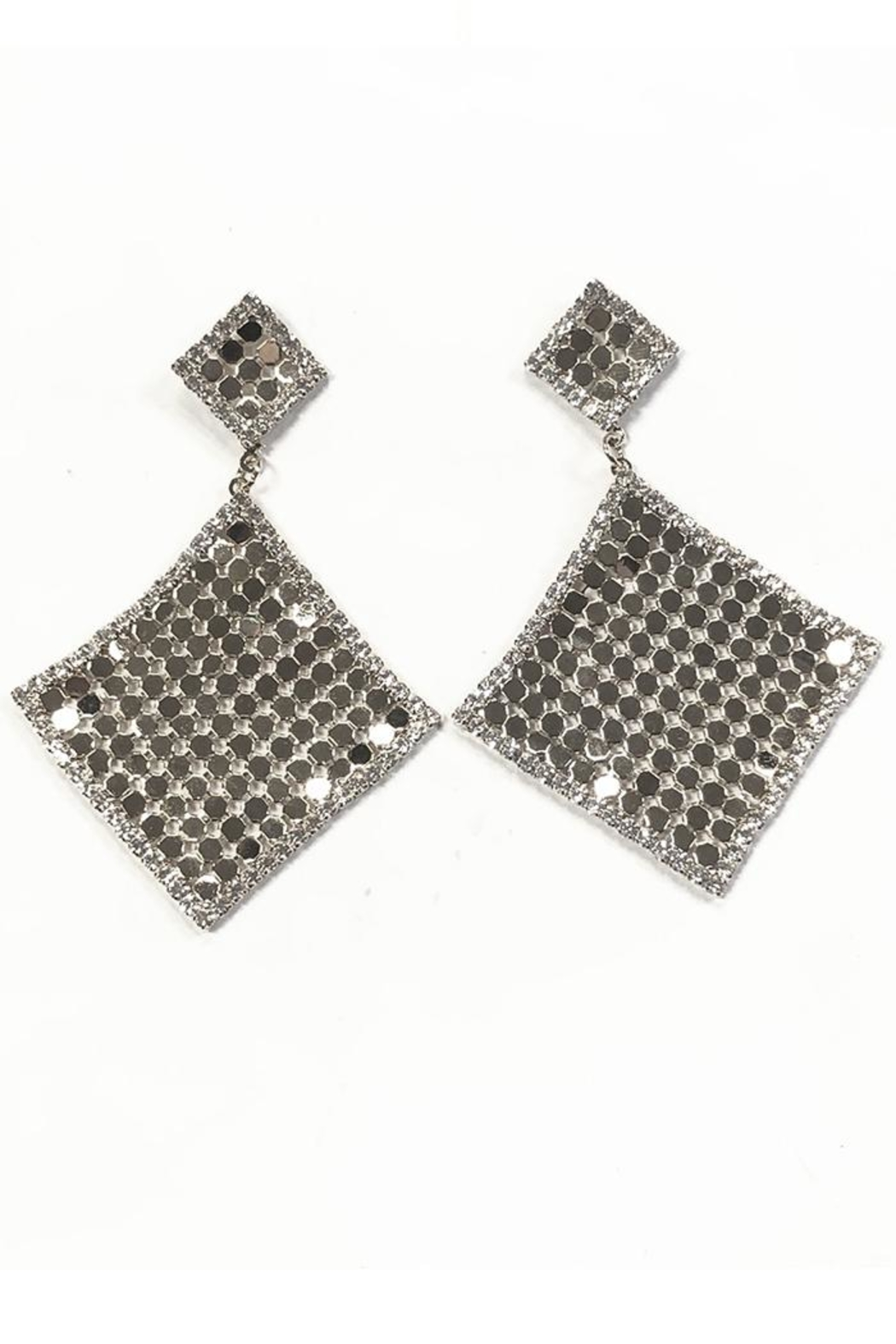 New Fashion Diamond Drape Earrings - Front Cropped Image