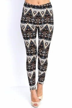 Shoptiques Product: Black & Gold Prints Leggings