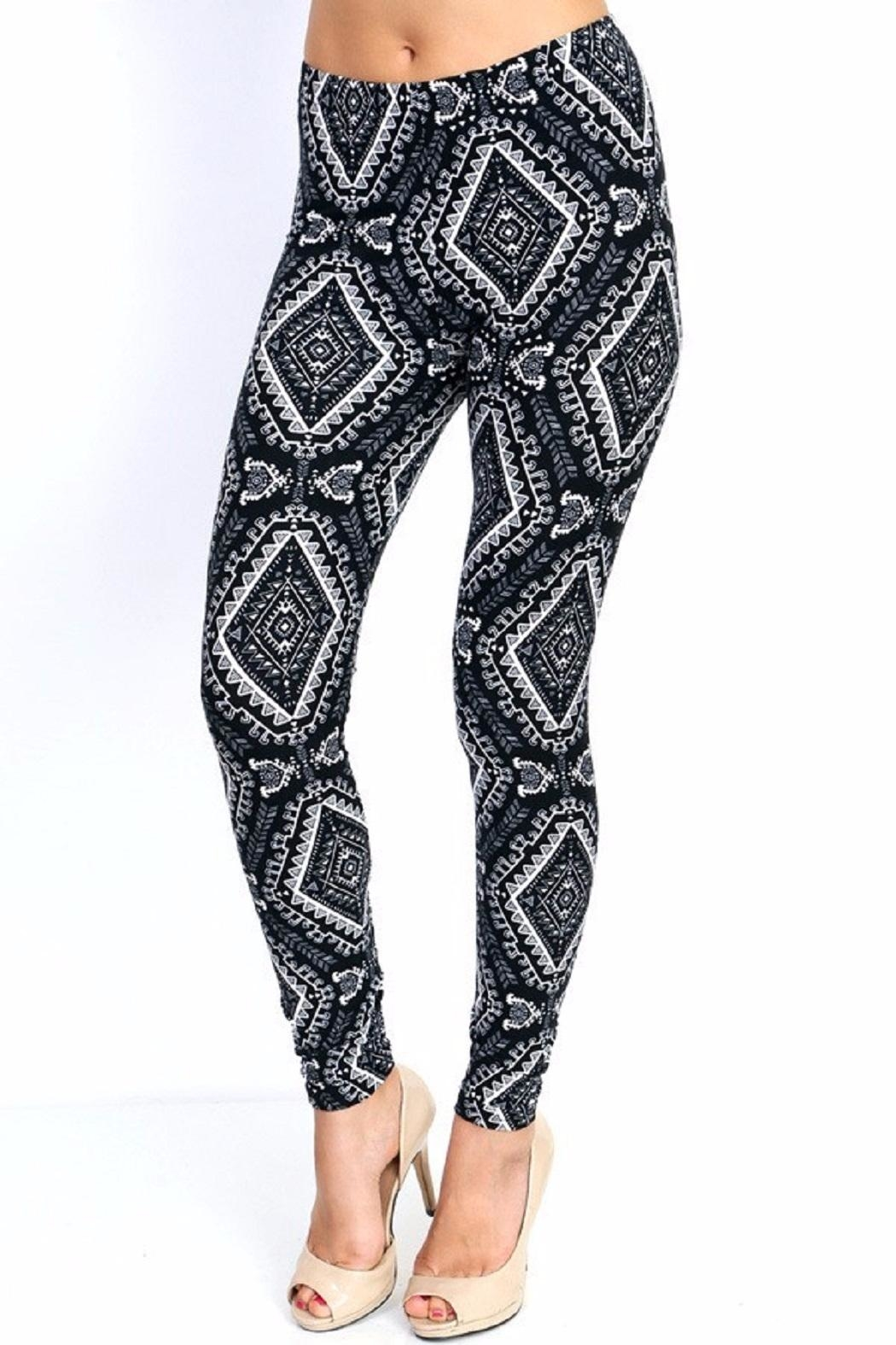 New Mix Black & White Prints Leggings - Side Cropped Image