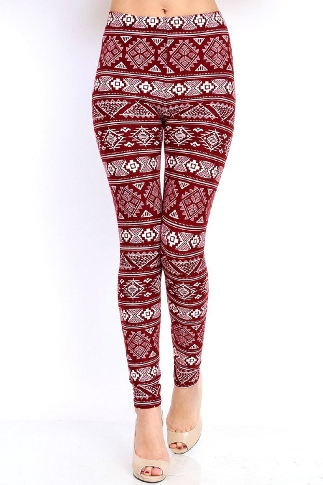 New Mix Burgundy Tribal Print - Front Cropped Image