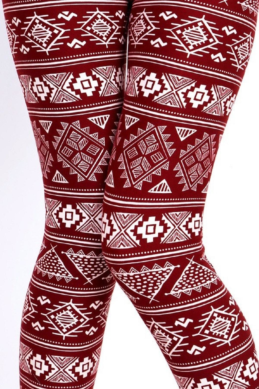New Mix Burgundy Tribal Print - Back Cropped Image