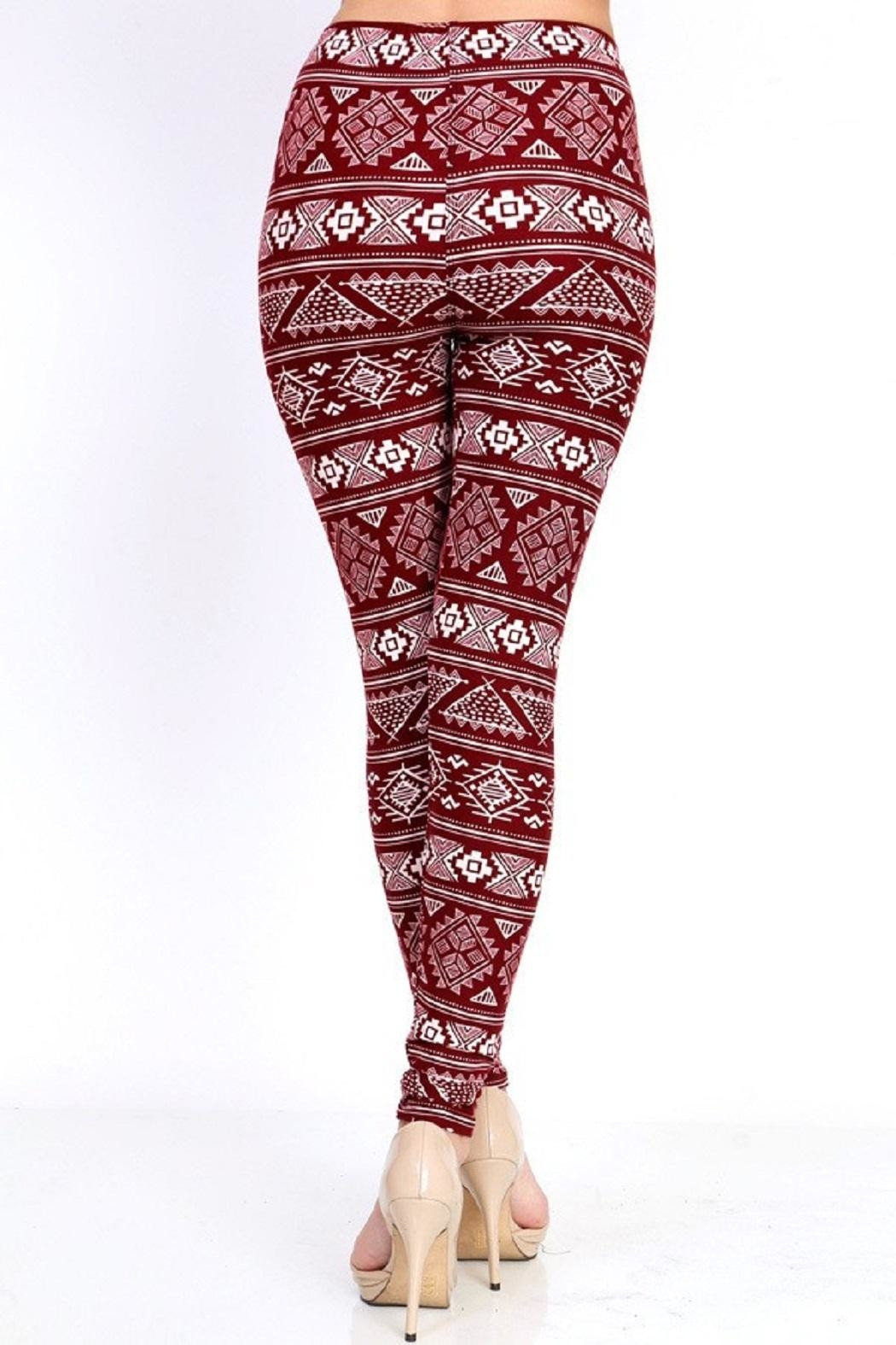 New Mix Burgundy Tribal Print - Side Cropped Image