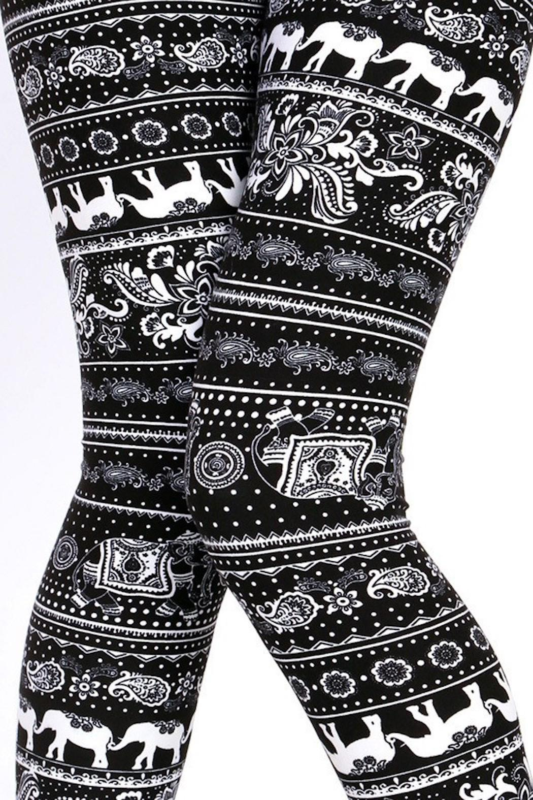 New Mix Elephant Print Leggings - Front Cropped Image