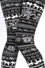 New Mix Elephant Print Leggings - Front cropped