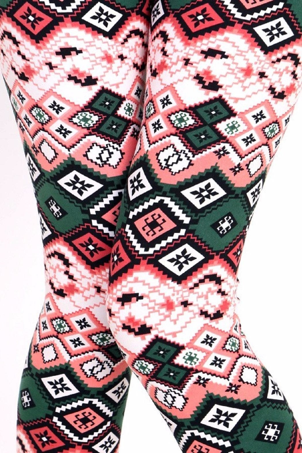 New Mix Ethnic Print Leggings - Side Cropped Image