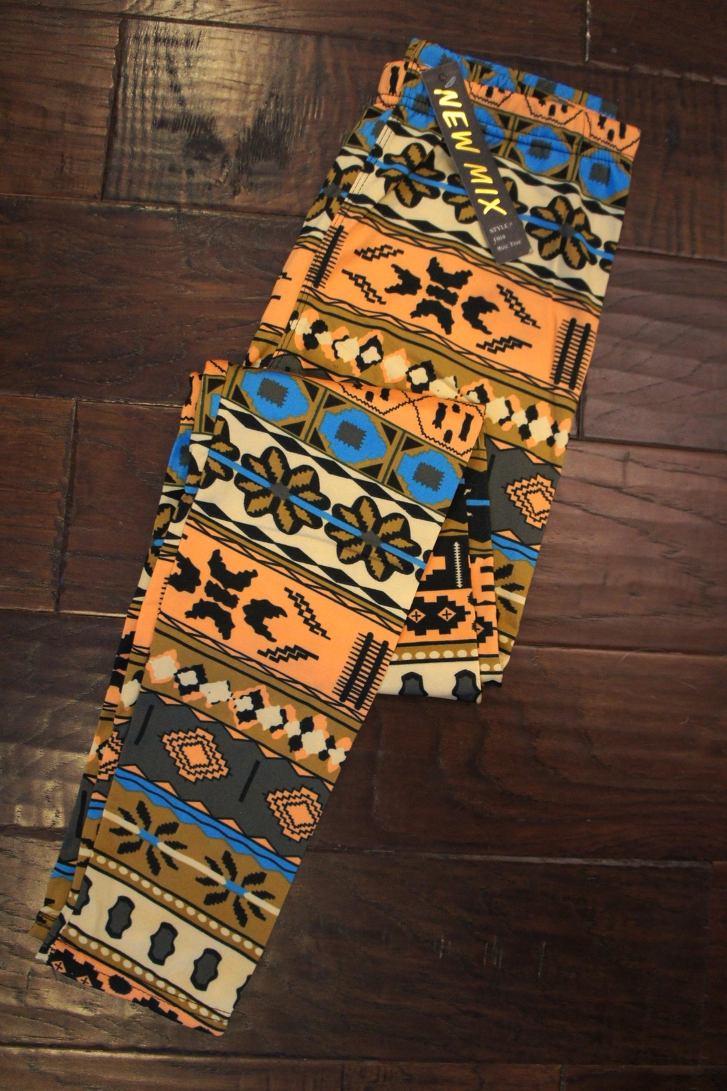 New Mix Fleece-Lined Southwestern-Print Leggings - Front Cropped Image