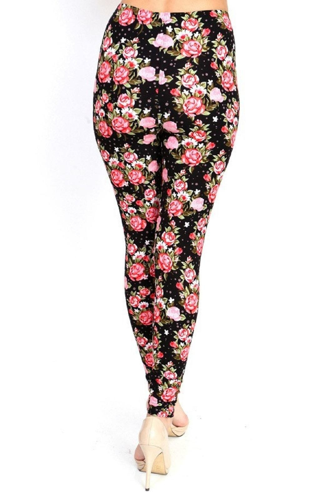 New Mix Flower Print Legging - Side Cropped Image