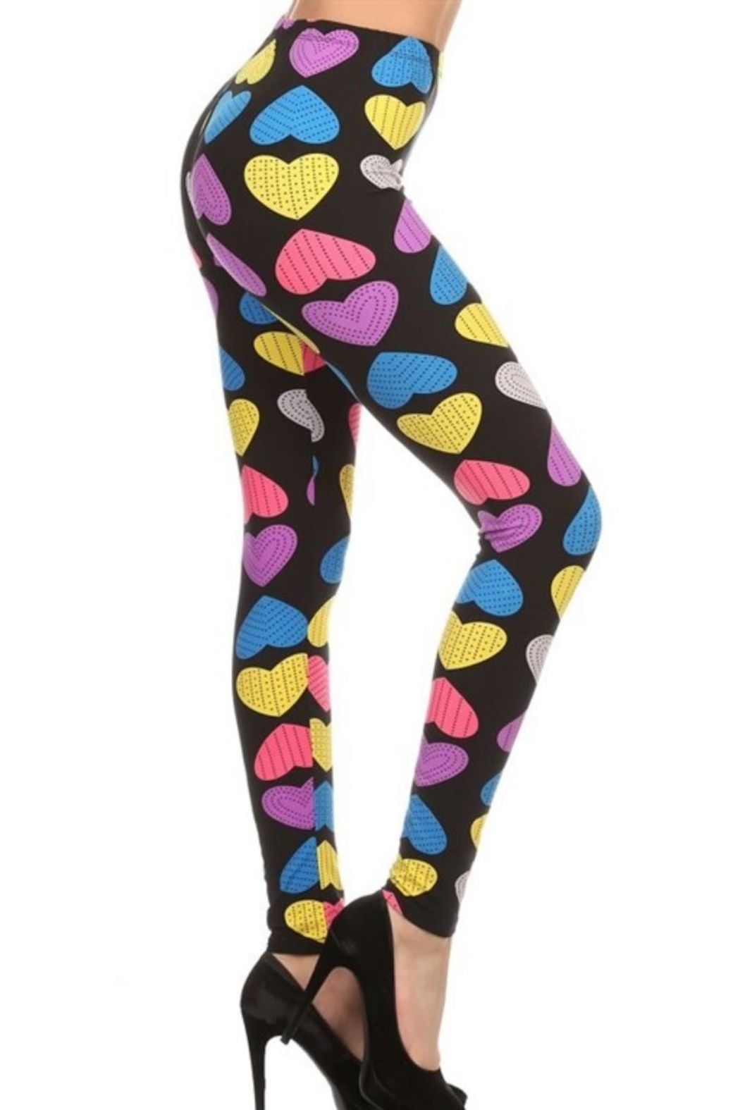 New Mix Multi-Heart Leggings - Front Cropped Image