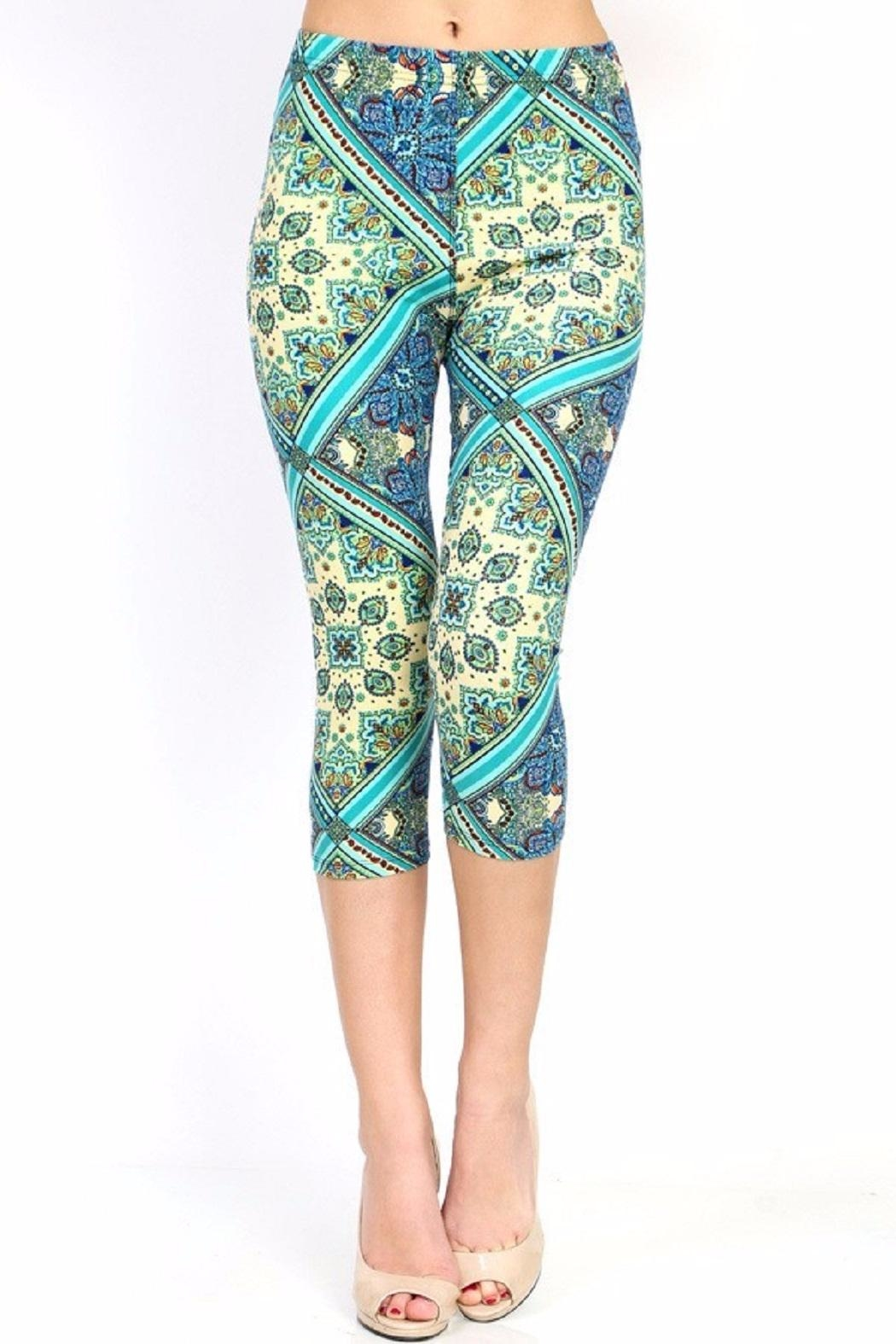 New Mix Paisley Capri Leggings - Front Cropped Image