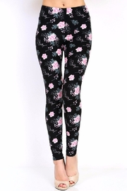 New Mix Black Floral Print Leggings - Product Mini Image