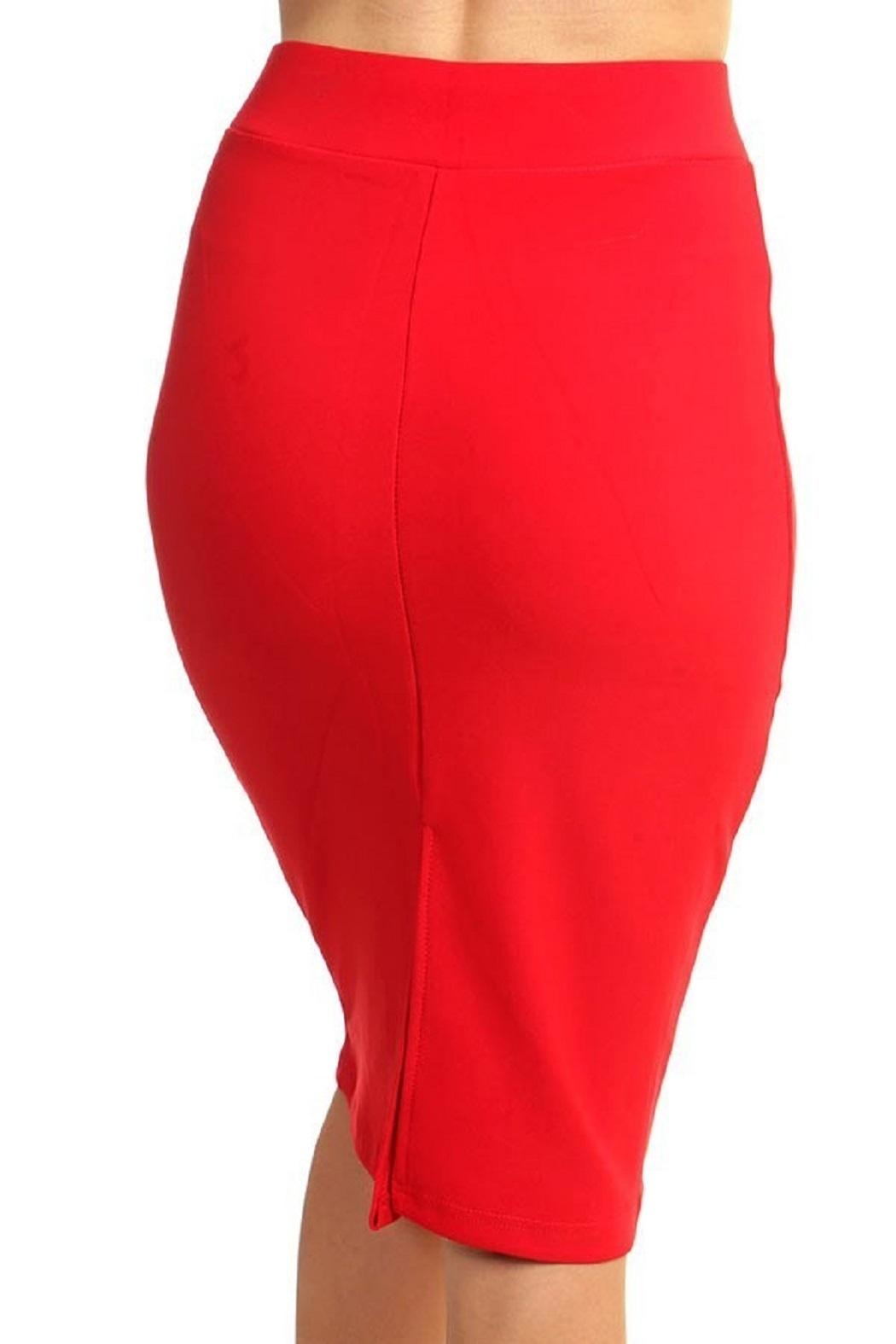 New Mix Scuba Pencil Skirt - Back Cropped Image