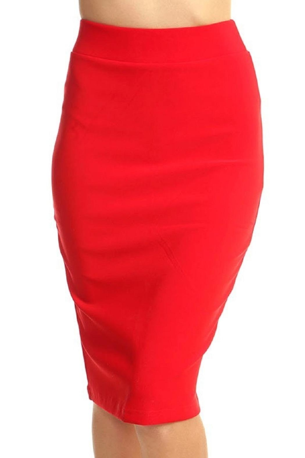 New Mix Scuba Pencil Skirt - Side Cropped Image