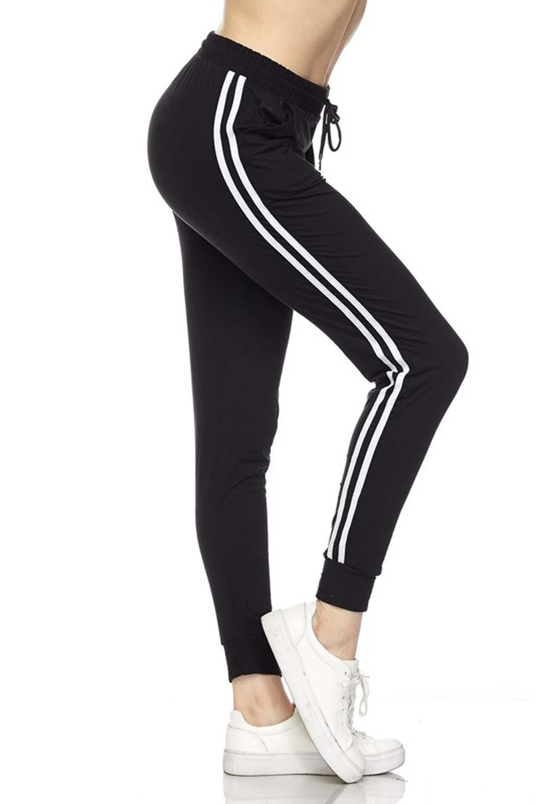 New Mix Stripe Jogger Sweats - Front Cropped Image