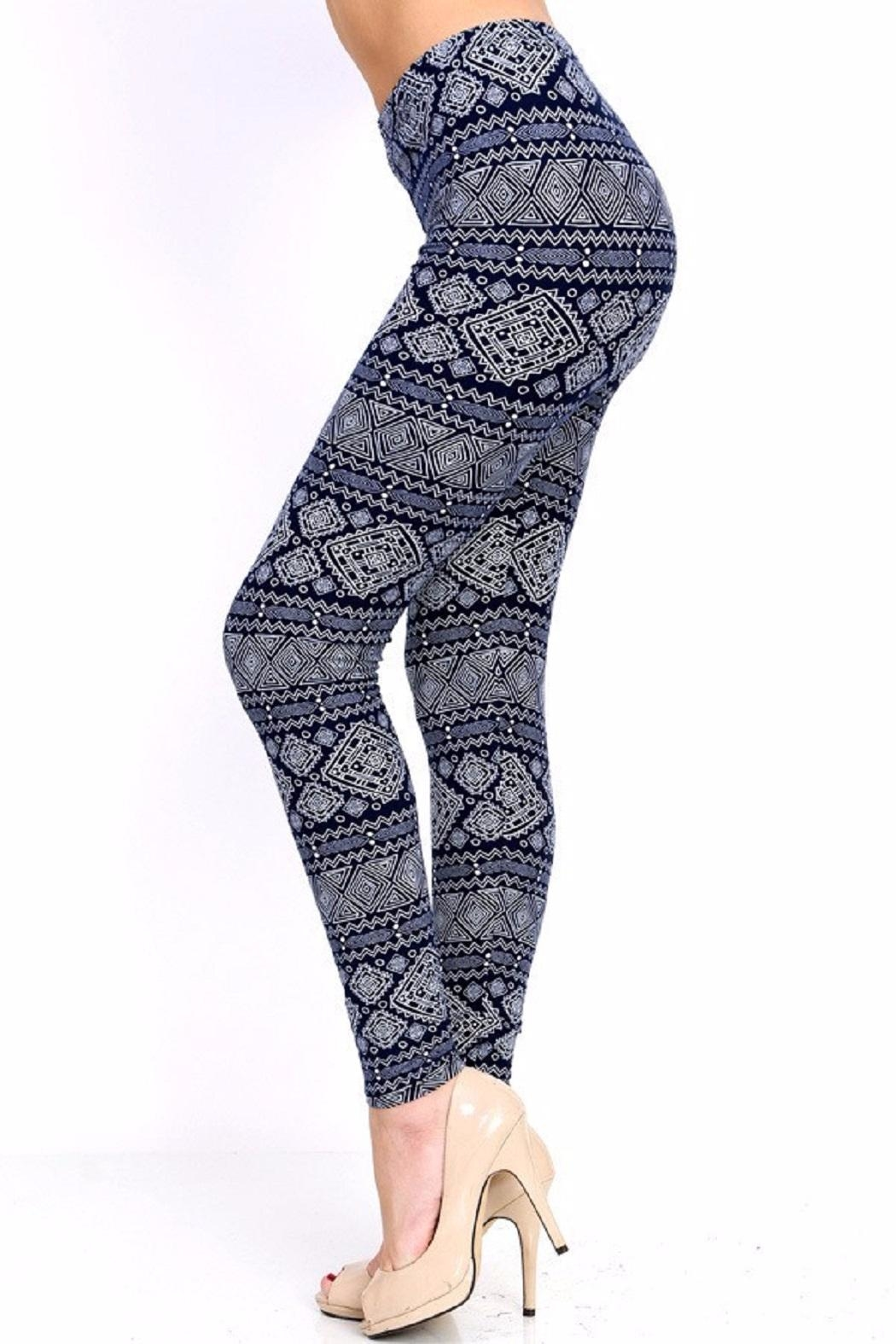 New Mix Tribal Print Leggings - Front Full Image