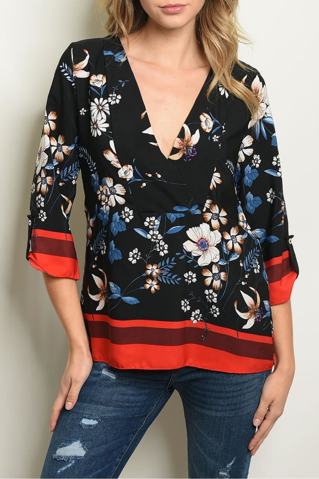 New Mode Black Floral Tunic - Main Image