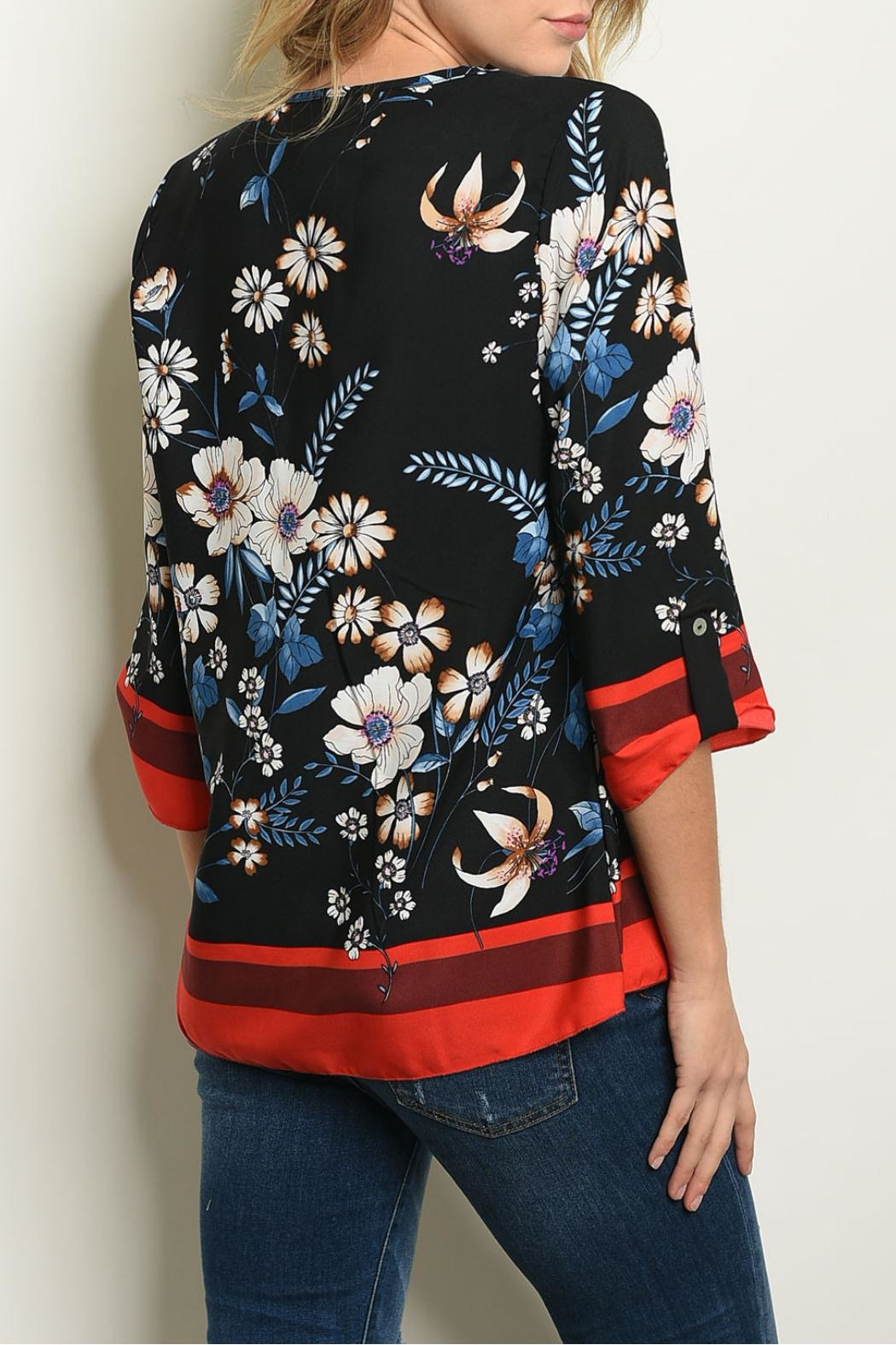 New Mode Black Floral Tunic - Front Full Image