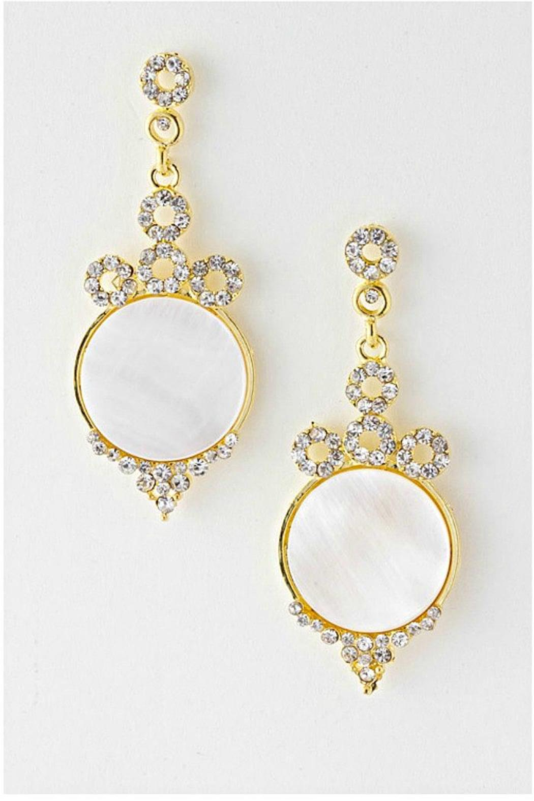 New Touch Round-Shell Crystal Earrings - Front Full Image
