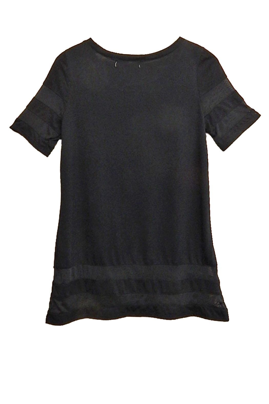 New York Laundry Black Sheer-Trim Top - Front Full Image